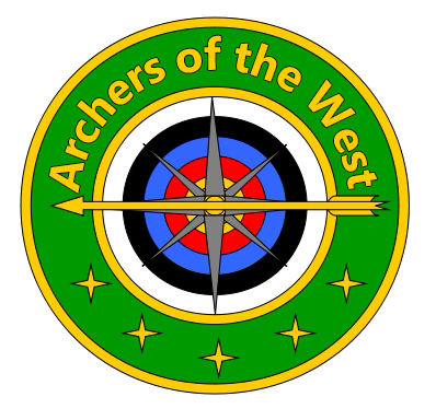 Club Logo with club name, target face and bow and arrow representing a compass