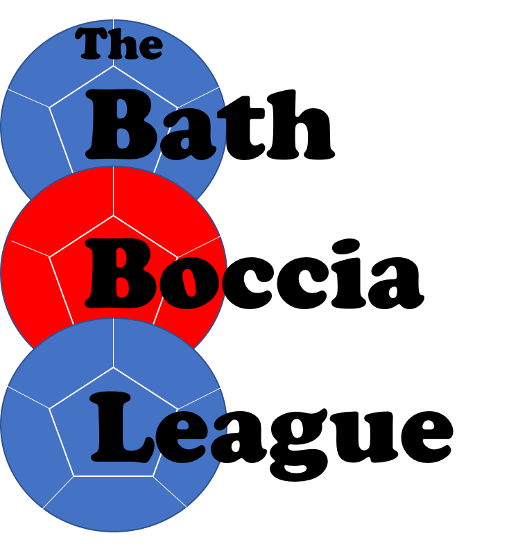 The logo for the Bath Boccia League with 3 coloured boccia balls