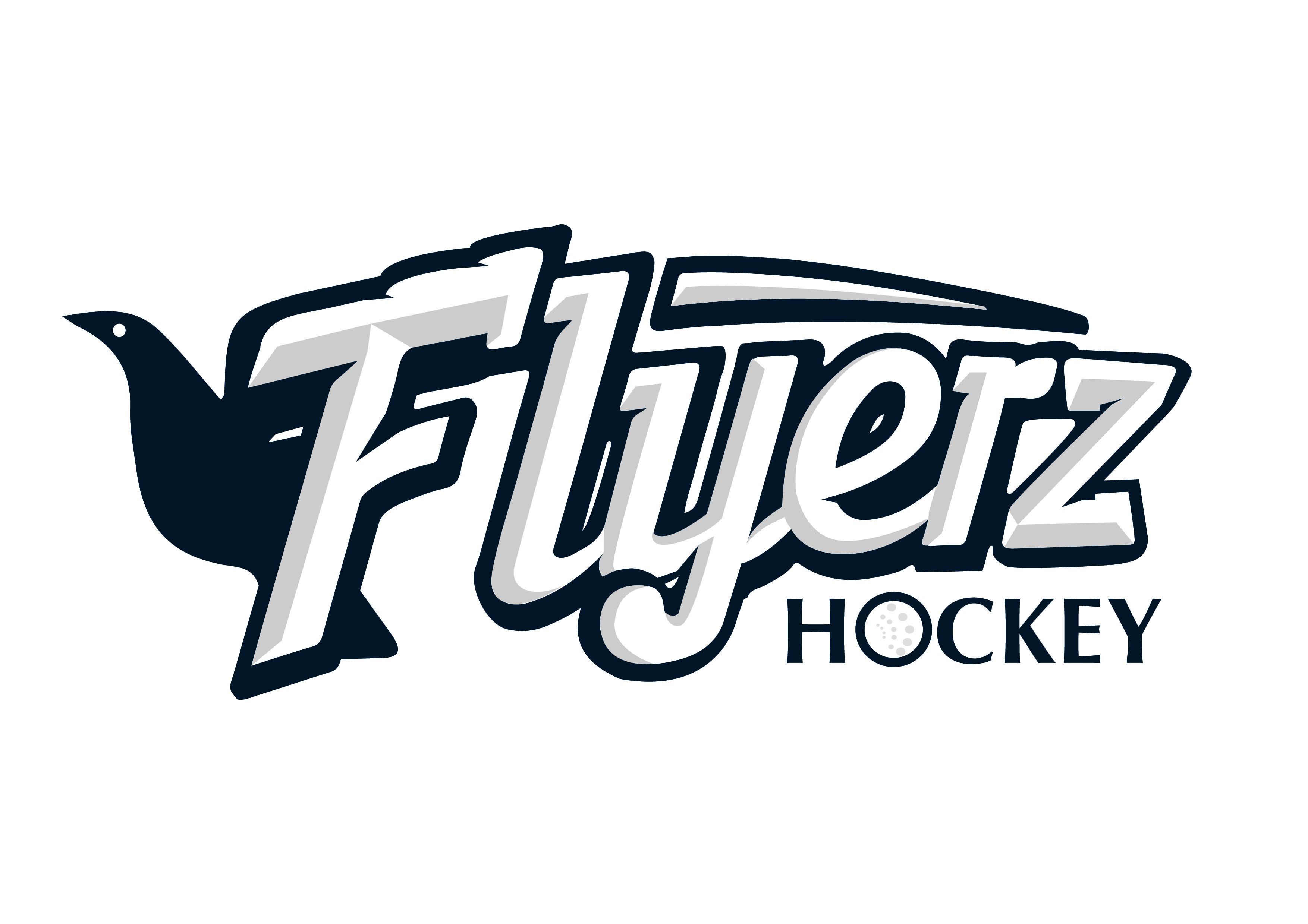 Navy font reading Flyerz Hockey . The O in hockey is a hockey ball.