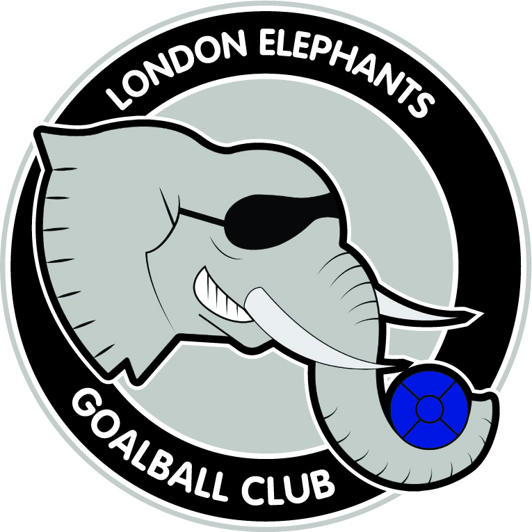 Club logo of an elephant head wearing eye shades and goalball in the trunk