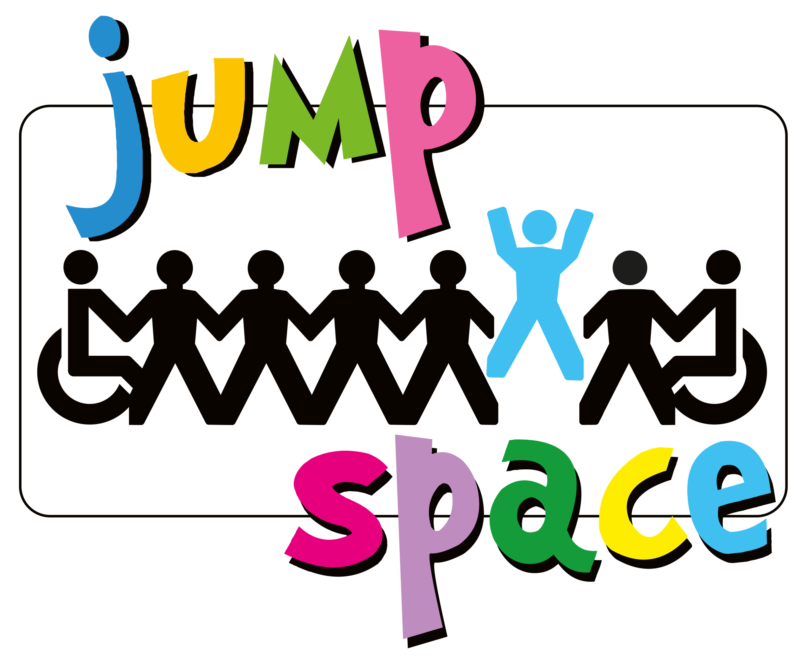 Jump Space Logo, shows people, some of whom are in wheelchairs, holding hands and one jumping. The name Jump Space is in bright multi-coloured font.