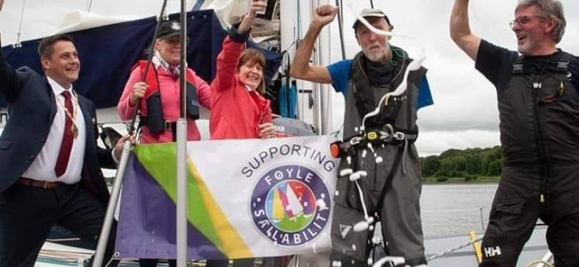 Garry celebrating his epic cross-Atlantic passage