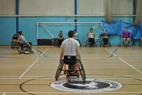 Wheelchair Basketball image of participants playing