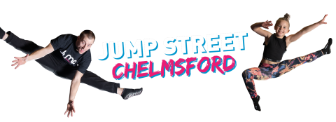 jump street chelmsford advert with a young man and a young girl jumping up in the air