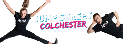 Jump street Colchester advert with a young woman and young man jumping in the air