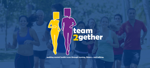 team2gether logo overlay a group of people running