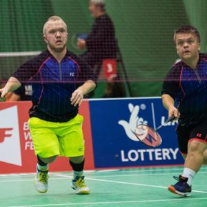 Two players of short stature play doubles