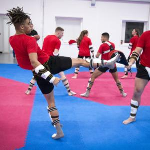 Taekwondo players practise