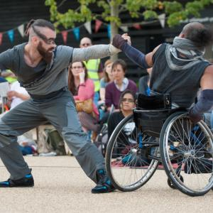 wheelchair dance pair outside