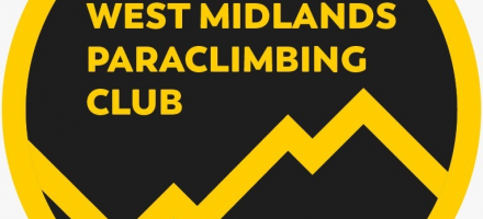 Yellow zig zags representing mountains with the words 'West Midlands Paraclimbing Club' above