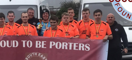Porters Soccability team photo from being 2019 champions