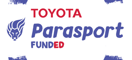 Toyota Parasport 'Funded' logo - meaning this club was awarded funding from Parrasport's first round of funding grants.